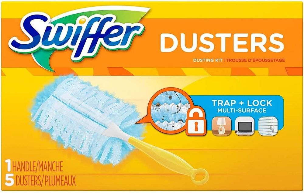 Swiffer Duster Starter Kit, 6-in Handle and 5 Cloths in a Box, Sold by the Box