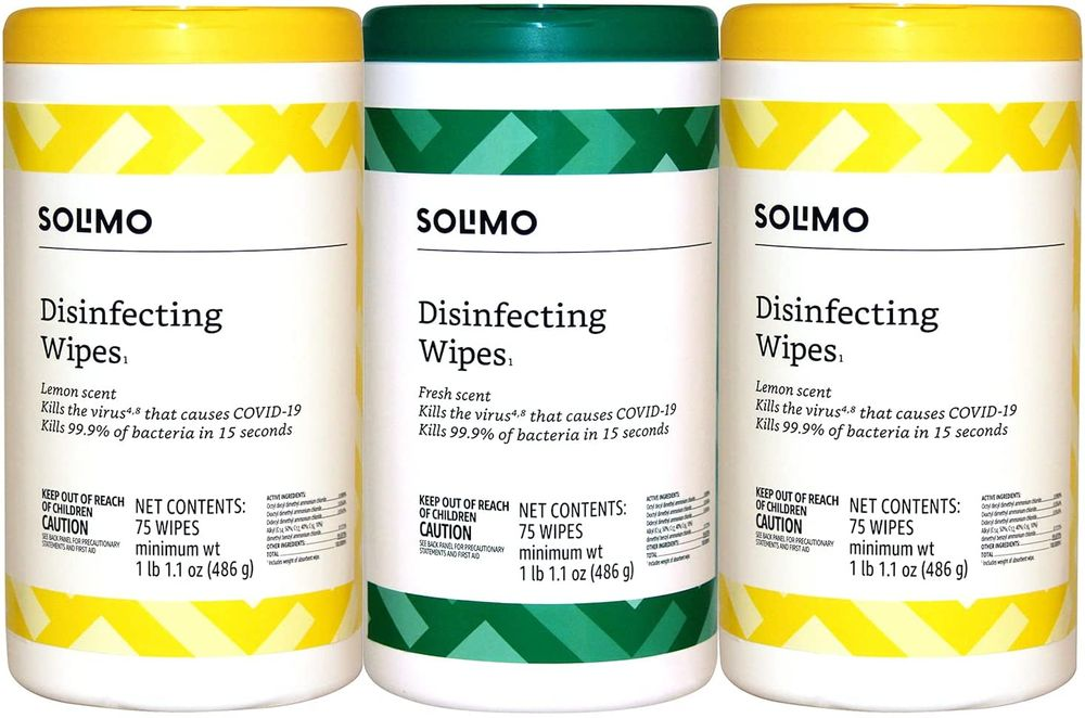 Brand - Solimo Disinfecting Wipes, Lemon Scent & Fresh Scent, Sanitizes/Cleans/Disinfects/Deodorizes, 75 Count (Pack of 3)
