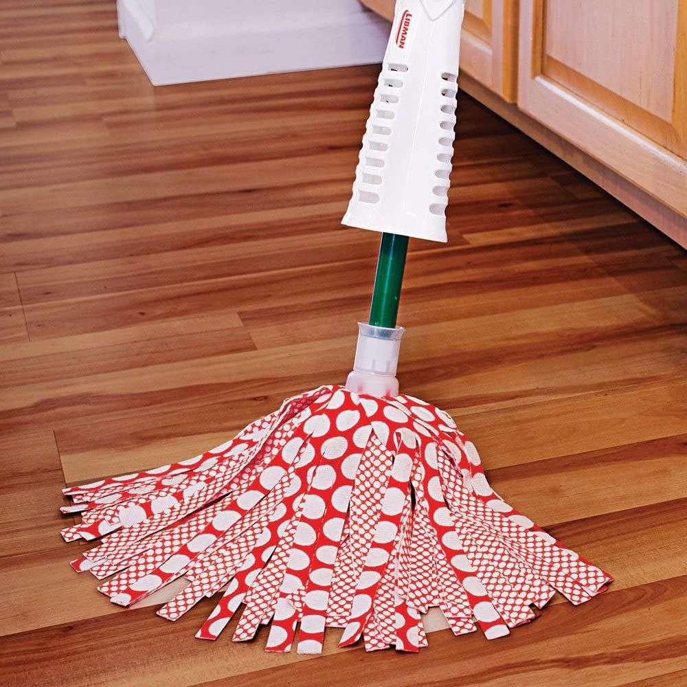 Libman Wonder Mop & Refills Kit – for Tough Messes and Powerful Cleanup – Easy to Wring, Long Handled Wet Mop for Hardwood, Tile, Laminate. Includes Three Replacement Heads, Machine Washable, 62 Inch