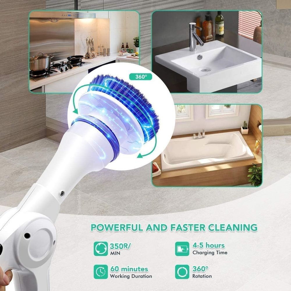 MECO Electric Spin Scrubber, Power Scrubber Cordless High Rotation Handheld Bathroom Scrubber Rechargeable with 3 Replaceable Cleaning Brush Heads for Cleaning Tub, Tile, Floor, Sink, Wall, Window