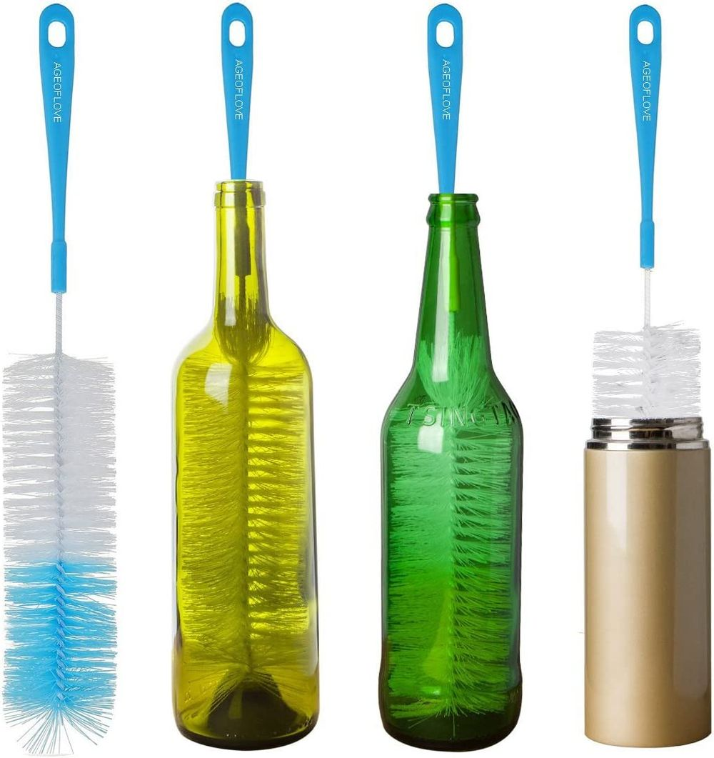 """16"""" Long Bottle Brush Cleaner for Washing Wine, Beer, Swell, Decanter, Kombucha, Thermos, Glass Jugs and Long Narrow Neck Sport Bottles"""