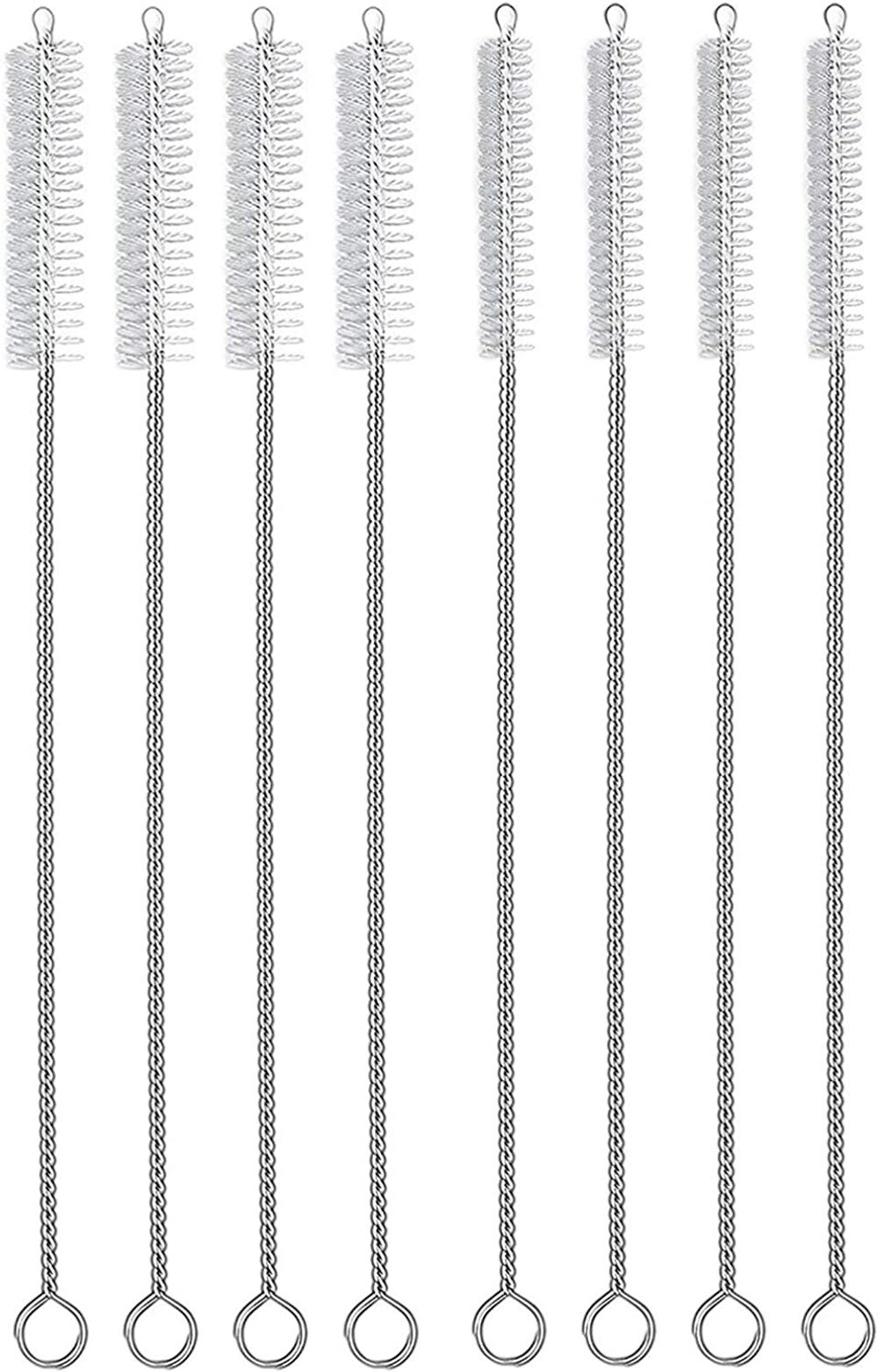 HIWARE Straw Cleaner Brush Set, 8-Piece Long Cleaning Brush for Straws on Tumbler, Water Bottle, Sippy Cup, and Pipes, Tubes or HummingbirdFeeders