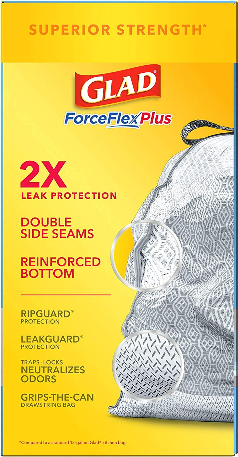Glad ForceFlexPlus Tall Kitchen Drawstring Trash Bags, 13 Gal, 68 Ct (Package May Vary)