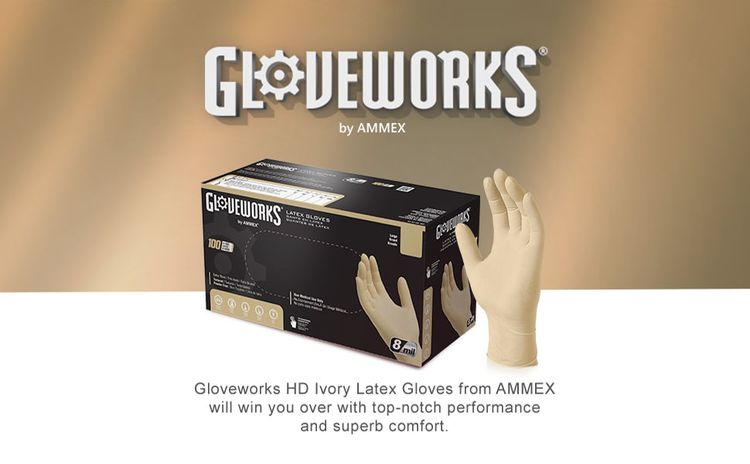 GLOVEWORKS Heavy Duty Industrial Ivory Latex Disposable Powder Free Textured Gloves