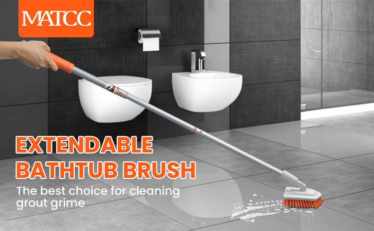 Tub and Tile Scrub Brush with Extendable Long Handle 42'' Grout Brush Stiff Bristles Cleaning Brush