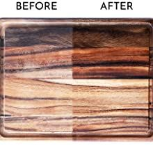 Before and after of cutting board one side before mineral oil was used and the other after use