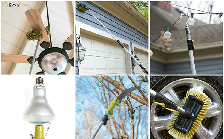 DocaPole extension duster deck brush scrub squeegee car wash go saw light bulb changer fruit picker