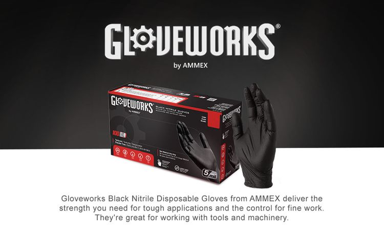 GLOVEWORKS GPNB Industrial 5 Mil Black Nitrile Latex Free Powder Free Textured Disposable Gloves