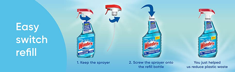 windex refill, bathroom cleaner, glass cleaner, kitchen cleaner