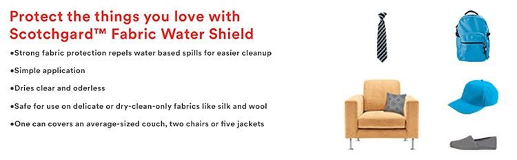 protect things you love with scotchgard fabric water shield: couches, chairs, hats, shoes, backpacks
