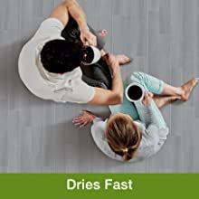 fast drying, dries fast, quick cleaning