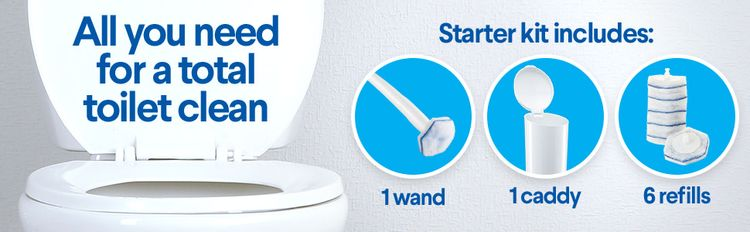 All you need for a total toilet clean - starter kit includes: 1 wand, 1 caddy, 6 refills