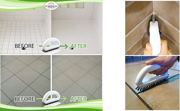 grout brush before and after